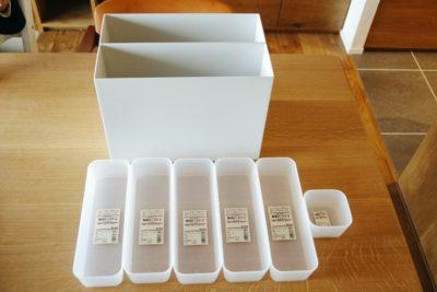無印良品のポリプロピレン整理ボックスはキッチン収納として。