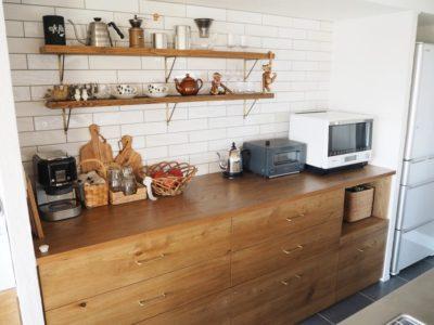 キッチン背面造作収納カウンター